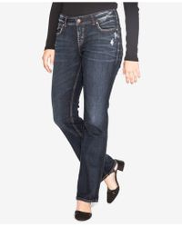Silver Jeans Co. - Trendy Plus Size Elyse Slim Bootcut Jeans, Distressed Dark Blue Wash - Lyst