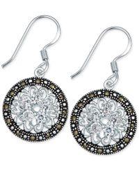 Macy's - Marcasite & Crystal Flower Disc Drop Earrings In Fine Silver-plate - Lyst