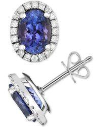 Macy's - Tanzanite (3 Ct. T.w.) & Diamond (1/3 Ct. T.w.) Stud Earrings In 14k White Gold - Lyst