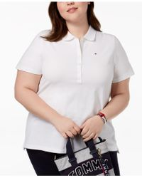 eabcc180c7343 Lyst - Tommy Hilfiger Plus Size Chambray-collar Polo Top