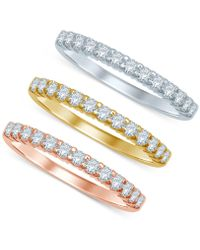Macy's - Diamond Tri-tone Stackable Bands (3/8 Ct. T.w.) In 14k Gold - Lyst