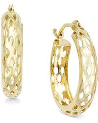 Macy's - Diamond-cut Mesh Hoop Earrings In 10k Gold - Lyst