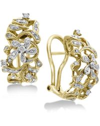 Effy Collection - Diamond Openwork Floral Drop Earrings (3/8 Ct. T.w.) In 14k Gold & White Gold - Lyst