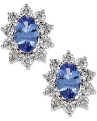 Macy's - Tanzanite (3/4 Ct. T.w.) And Diamond Accent Stud Earrings In 10k White Gold - Lyst