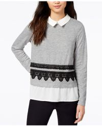 Maison Jules | Embroidered Layered-look Sweater | Lyst