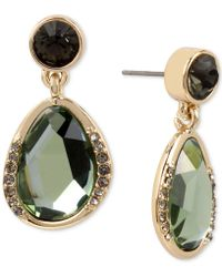Kenneth Cole - Gold-tone Jet Crystal & Green Stone Drop Earrings - Lyst
