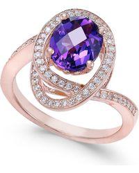 Macy's - Amethyst (5/8 Ct. T.w.) & Diamond (1/3 Ct. T.w.) Ring In 14k Rose Gold - Lyst