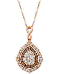 "Le Vian - ® Nude Diamonds® & Chocolate Diamonds® Fancy 18"" Pendant Necklace (1-5/8 Ct. T.w.) In 14k Rose Gold - Lyst"