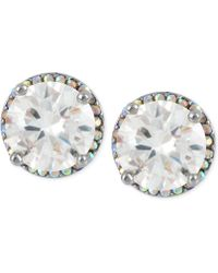 Betsey Johnson - Silver-tone Crystal Round Stud Earrings - Lyst