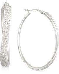 Macy's - Textured Wavy Oval Hoop Earrings In 14k White Gold Over Sterling Silver - Lyst