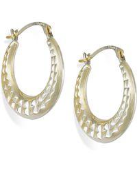 Macy's - Diamond-cut Hoop Earrings In 10k Gold - Lyst