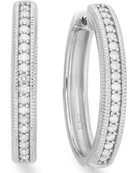 Macy's - Diamond Hoop Earrings In Sterling Silver (1/4 Ct. Tw.) - Lyst