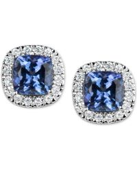Macy's - Tanzanite (1-1/5 Ct. T.w.) And Diamond (1/6 Ct. T.w.) Stud Earrings In 14k White Gold - Lyst