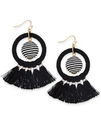 """INC International Concepts - I.n.c. Extra Large 3"""" Gold-tone Wrapped Ball & Tassel Drop Hoop Earrings, Created For Macy's - Lyst"""