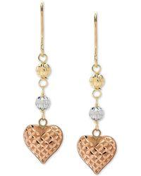 Macy's - Tricolor Heart & Bead Drop Earrings In 10k Gold, White Gold & Rose Gold - Lyst