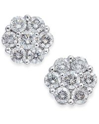 Macy's - Diamond Cluster Stud Earrings (1/3 Ct. T.w.) In 14k White Gold - Lyst