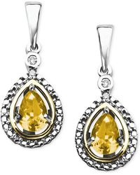 Macy's - 14k Gold And Sterling Silver Earrings, Citrine (3/4 Ct. T.w.) And Diamond Accent Teardrop Earrings - Lyst