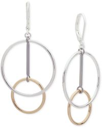 Nine West - Tri-tone Circle Drop Earrings - Lyst