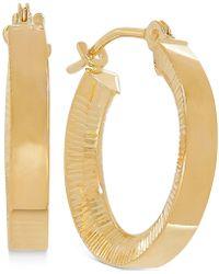 Macy's - Bark Finish Hoop Earrings In 10k Gold - Lyst