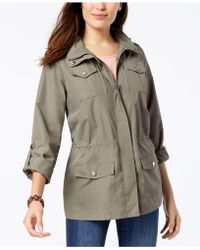 d169858b83f Style   Co. - Petite Cotton Hooded Utility Jacket - Lyst