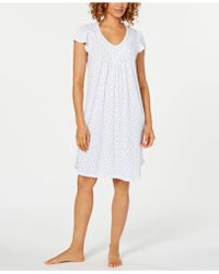 Miss Elaine - Flutter-sleeve Printed Knit Nightgown - Lyst