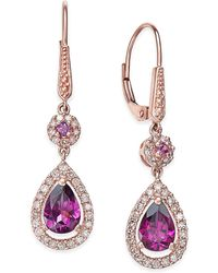 Macy's - Rhodolite Garnet (1-1/2 Ct. T.w.) And Diamond (1/3 Ct. T.w.) Drop Earrings In 14k Rose Gold - Lyst