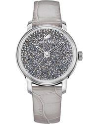 Swarovski - Swiss Crystalline Hours Gray Leather Strap Watch 38mm - Lyst