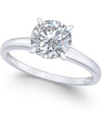 Arabella - 14k White Gold Ring, Swarovski Zirconia Solitaire Engagement Ring (3-1/3 Ct. T.w.) - Lyst