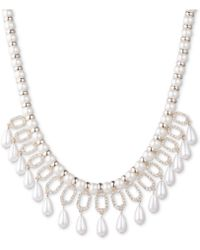 "Ivanka Trump - Gold-tone Crystal & Imitation Pearl Statement Necklace, 16"" + 3"" Extender - Lyst"