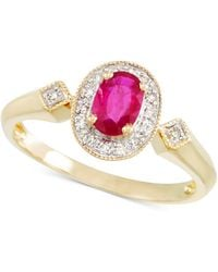 Rare Featuring Gemfields - Certified Ruby (1/2 Ct. T.w.) And Diamond Accent Ring In 14k Gold - Lyst