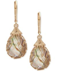 Lonna & Lilly - Gold-tone Abalone Teardrop Drop Earrings - Lyst