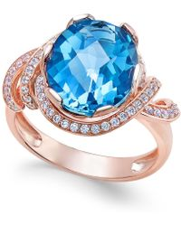 Macy's - London Blue Topaz (4-9/10 Ct. T.w.) And White Topaz (1/3 Ct. T.w.) Ring In 14k Rose Gold-plated Sterling Silver - Lyst