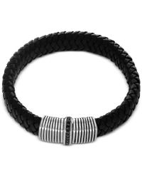 Effy Collection - Men's Black Sapphire (1/3 Ct. T.w.) Black Leather Woven Bracelet In Sterling Silver - Lyst