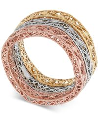 Macy's - Tricolor 3-pc. Set Openwork Stack Rings In 10k Gold, White Gold & Rose Gold - Lyst