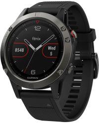 Garmin   Unisex Fenix 5 Black Silicone Strap Gps Smart Watch 47mm 010-01688-00   Lyst