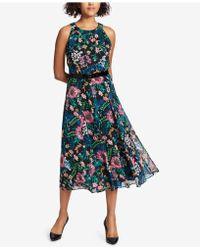 Tommy Hilfiger - Belted Floral-print Midi Dress - Lyst