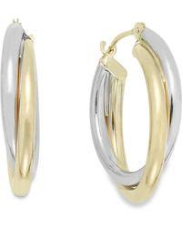 Macy's | Interlocking Hoop Earrings In 10k White And 10k Yellow Gold | Lyst
