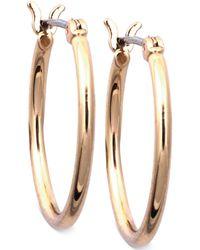 "Nine West - Gold-tone 1"" Small Tube Hoop Earrings - Lyst"