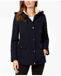 Laundry by Shelli Segal - Petite Fleece-lined Hooded Quilted Coat - Lyst