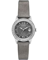 Citizen - Women's Silhouette Crystal Jewelry Gray Leather Strap Watch 29mm Fe1120-08x - Lyst