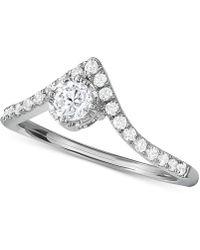 Macy's - Diamond V-shape Engagement Ring (1/2 Ct. T.w.) In 14k White Gold - Lyst