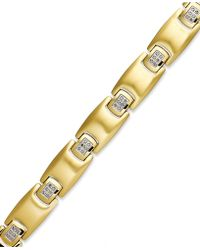 Macy's - Men's Diamond Bracelet In Gold Ion-plated Stainless Steel (1/4 Ct. T.w.) - Lyst