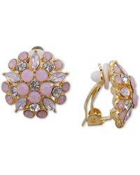 Nina - Gold-tone Multi-stone Flower Clip-on Stud Earrings - Lyst
