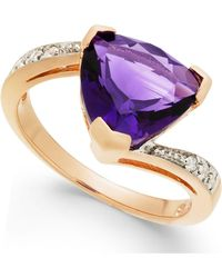 Macy's - Amethyst (3-1/3 Ct. T.w.) & Diamond Accent Swirl Ring In 14k Rose Gold - Lyst