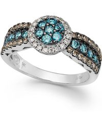 Le Vian - Chocolate, Blue And White Diamond Ring In 14k White Gold (9/10 Ct. T.w.) - Lyst