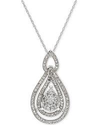 Macy's - Diamond Openwork Teardrop Pendant Necklace (1/2 Ct. T.w.) In 14k White Gold - Lyst