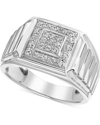Macy's - Diamond Square Cluster Ring (1/3 Ct. T.w.) In 10k White Gold - Lyst