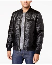 Members Only - Men's Quilted Faux Leather Bomber - Lyst