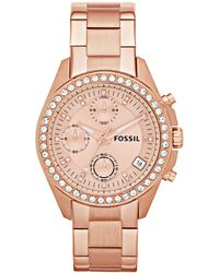 Fossil - Women's Chronograph Decker Rose Gold-tone Stainless Steel Bracelet Watch 38mm Es3352 - Lyst