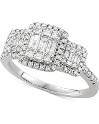 Macy's - Diamond Square Cluster Engagement Ring (3/4 Ct. T.w) In 14k White Gold - Lyst